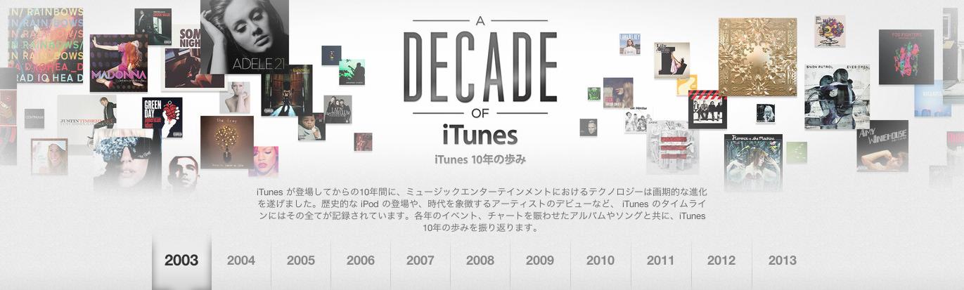 iTunes decade へのリンク